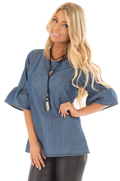 Medium Denim Blouse with Bell Flare Sleeves front close up
