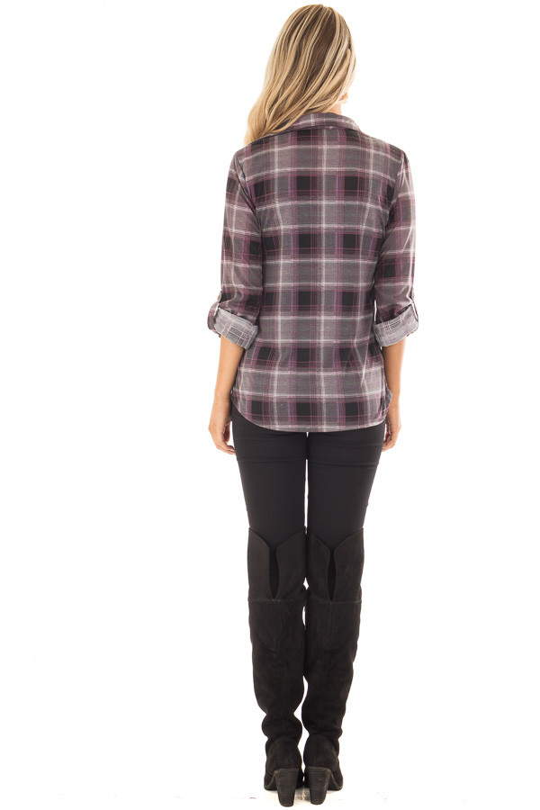 Plum and Grey Plaid Soft Button Up Top back full body
