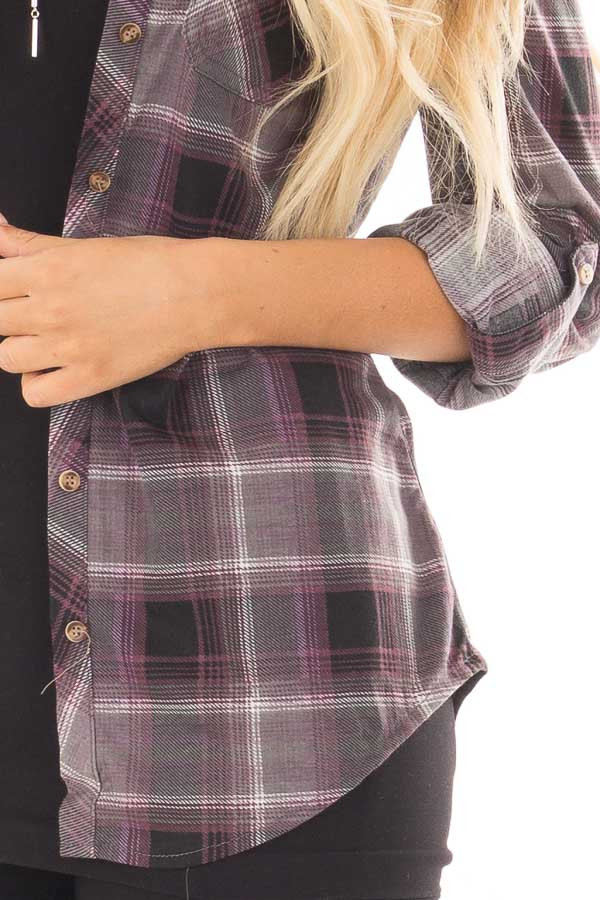 Plum and Grey Plaid Soft Button Up Top detail