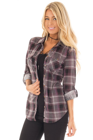 Plum and Grey Plaid Soft Button Up Top front close up