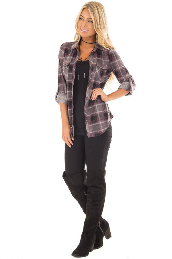 Plum and Grey Plaid Soft Button Up Top front full body