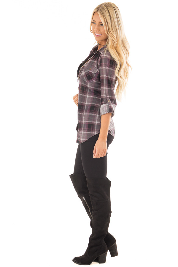 Plum and Grey Plaid Soft Button Up Top side full body