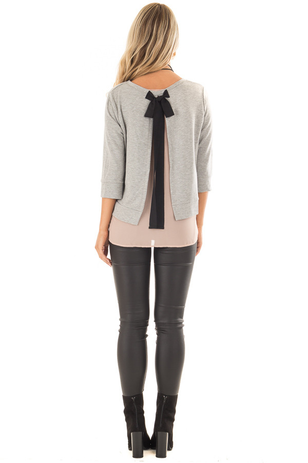 Grey 3/4 Sleeve Top with Blush Chiffon Underlayer and Black Bow back full body