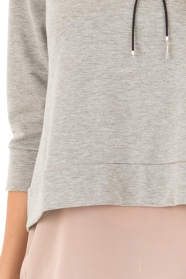 Grey 3/4 Sleeve Top with Blush Chiffon Underlayer and Black Bow detail