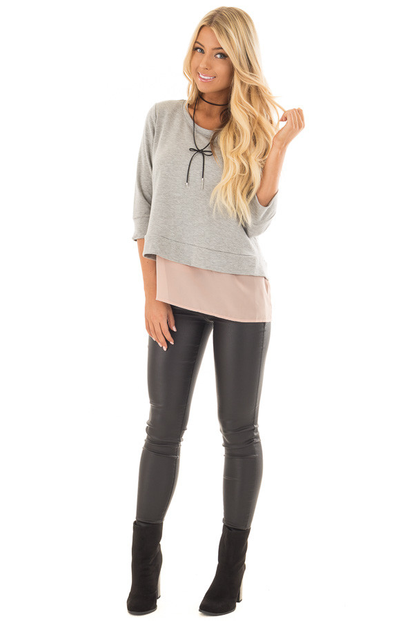 Grey 3/4 Sleeve Top with Blush Chiffon Underlayer and Black Bow side full body