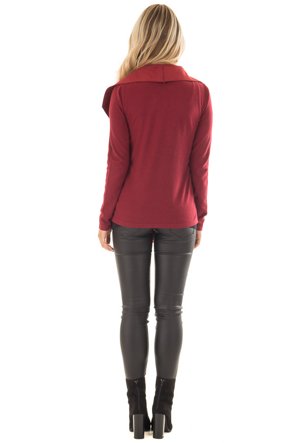 Burgundy Faux Suede Cardigan with Knit Contrast back full body