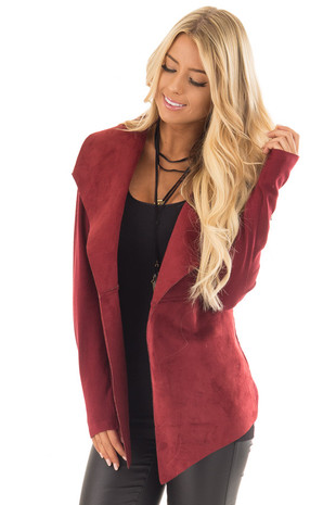 Burgundy Faux Suede Cardigan with Knit Contrast front close up