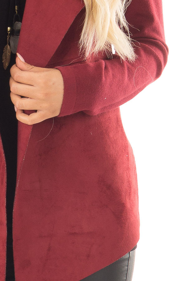 Burgundy Faux Suede Cardigan with Knit Contrast detail