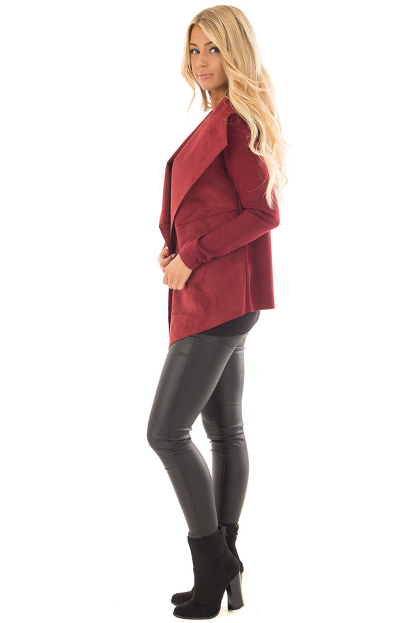 Burgundy Faux Suede Cardigan with Knit Contrast side full body