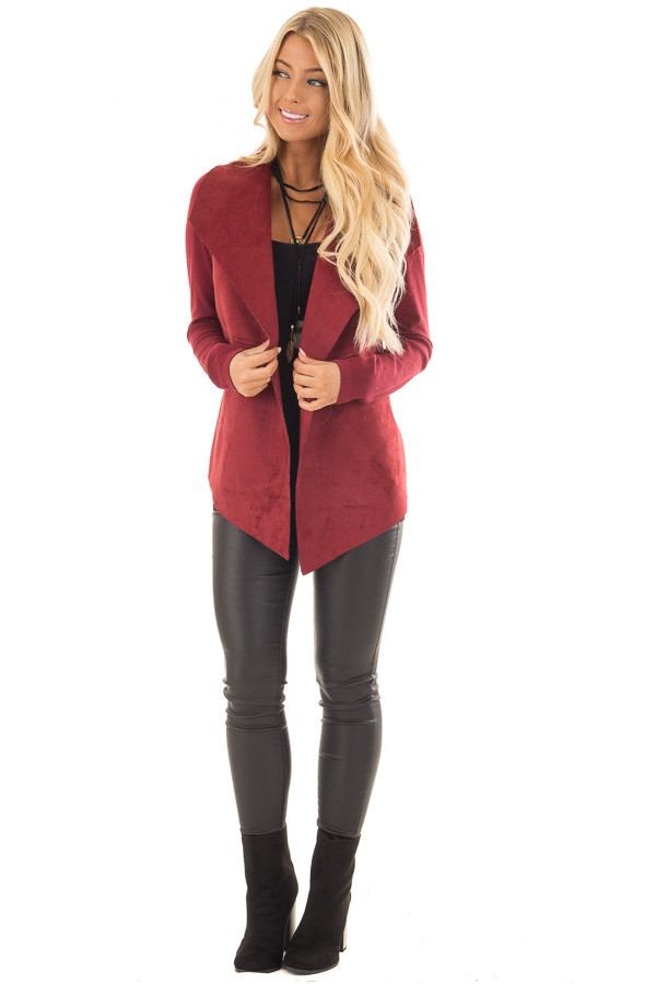Burgundy Faux Suede Cardigan with Knit Contrast front full body
