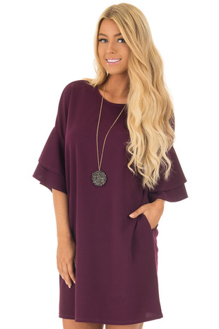 Plum Ruffle Layered Short Sleeve Dress with Hidden Pockets front close up
