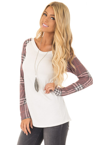 Ivory with Wine Plaid Raglan Long Sleeve Top front close up