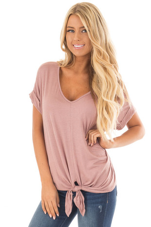 Mauve Comfy Tee with Front Tie Detail front close up
