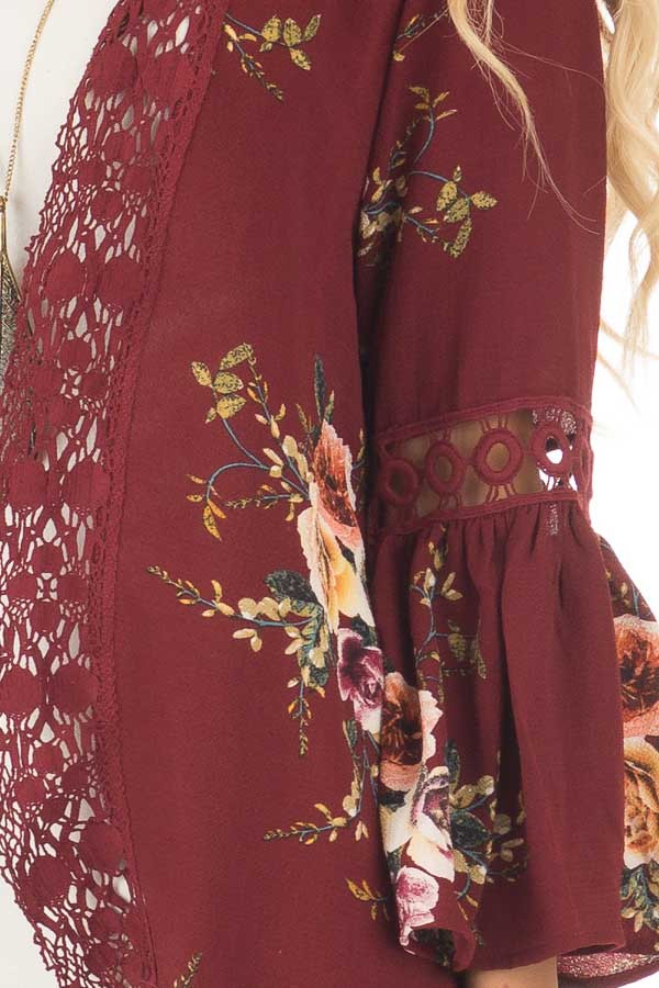 Burgundy Floral Kimono with Lace Details and Bell Sleeves detail