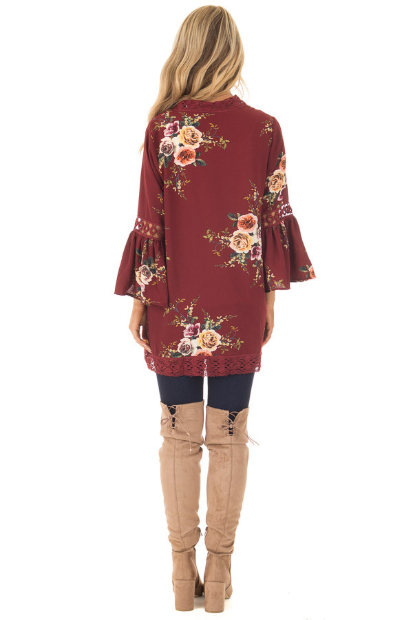 Burgundy Floral Kimono with Lace Details and Bell Sleeves back full body