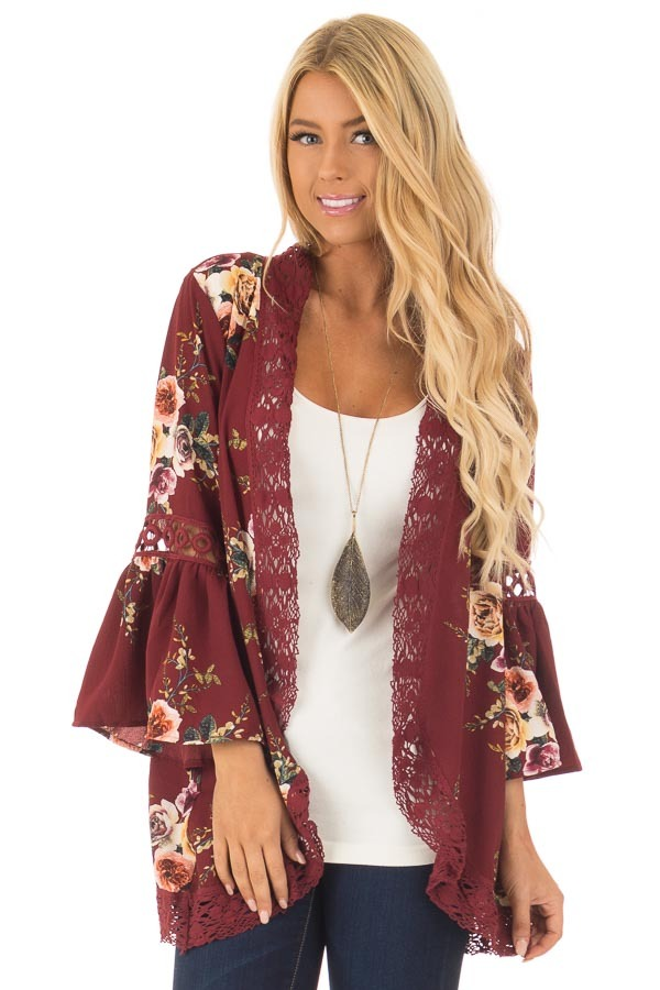 Burgundy Floral Kimono with Lace Details and Bell Sleeves front close up
