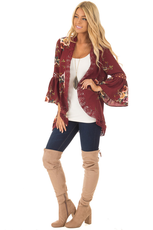 Burgundy Floral Kimono with Lace Details and Bell Sleeves front full body