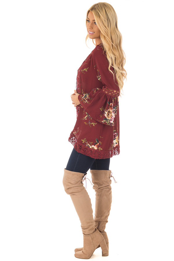 Burgundy Floral Kimono with Lace Details and Bell Sleeves side full body