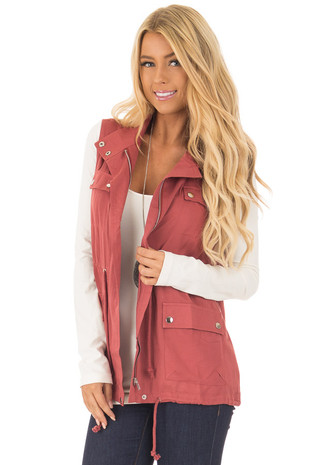 Marsala Lightweight Vest with Drawstring Waist front close up