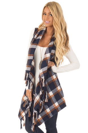 Navy Plaid Waterfall Vest with Fringe Detail front close up