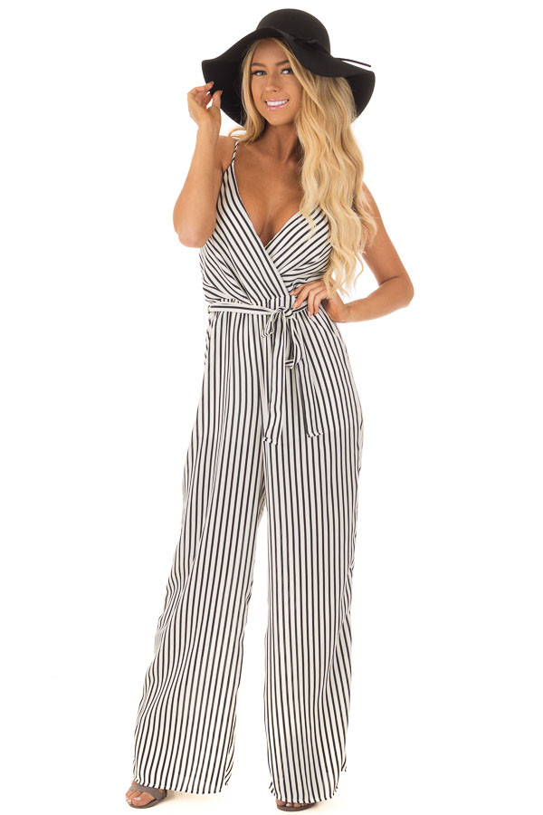 Black and Off White Striped V Neck Jumpsuit with Waist Tie front full body