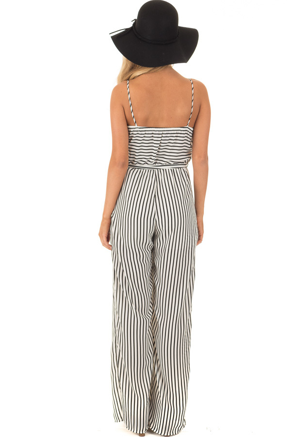 Black and Off White Striped V Neck Jumpsuit with Waist Tie back full body