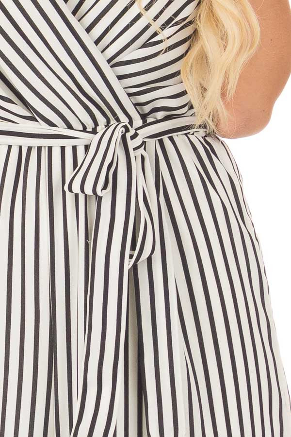 Black and Off White Striped V Neck Jumpsuit with Waist Tie front detail