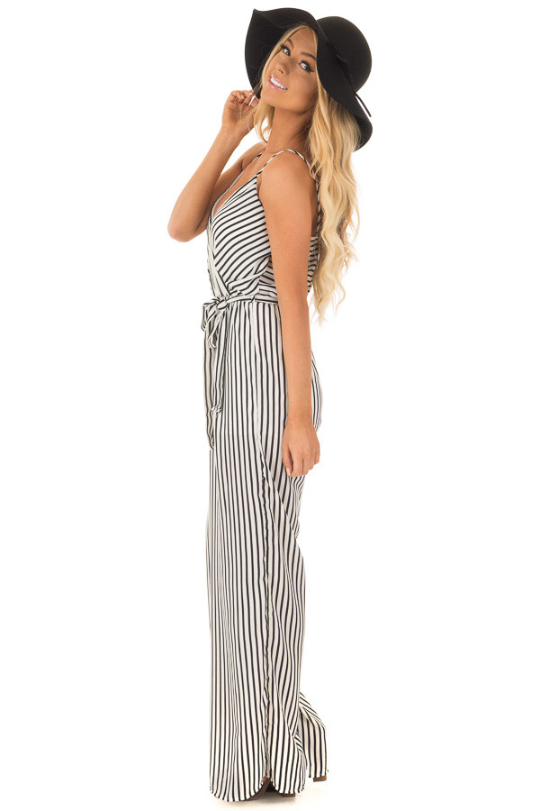 Black and Off White Striped V Neck Jumpsuit with Waist Tie side full body
