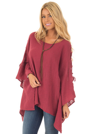 Ruby Oversized Top with Lace Up Sleeves front closeup