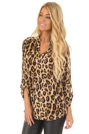 Leopard Print V Neck Blouse with Roll Up Sleeves front closeup