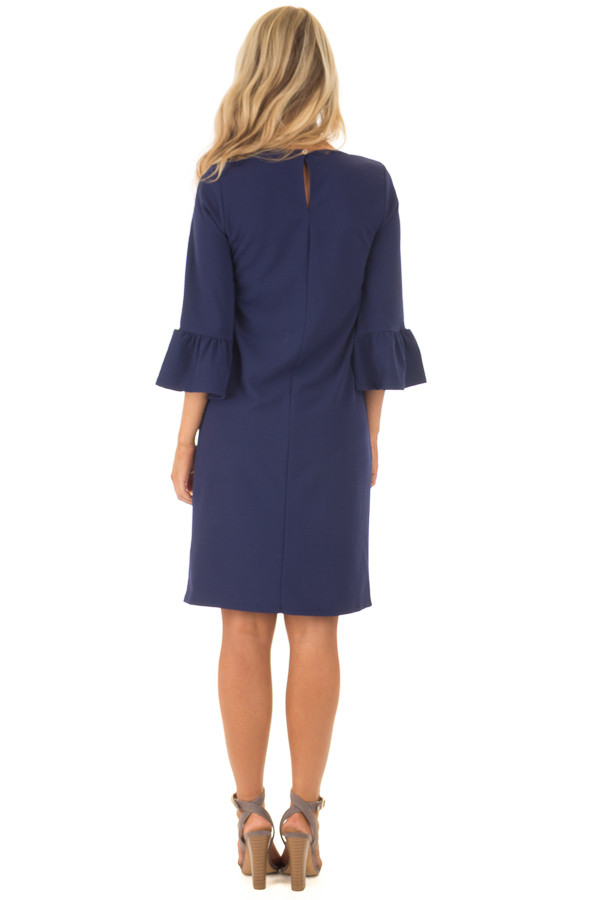 Navy 3/4 Sleeve Dress with Bell Flare Sleeve Detail back full body