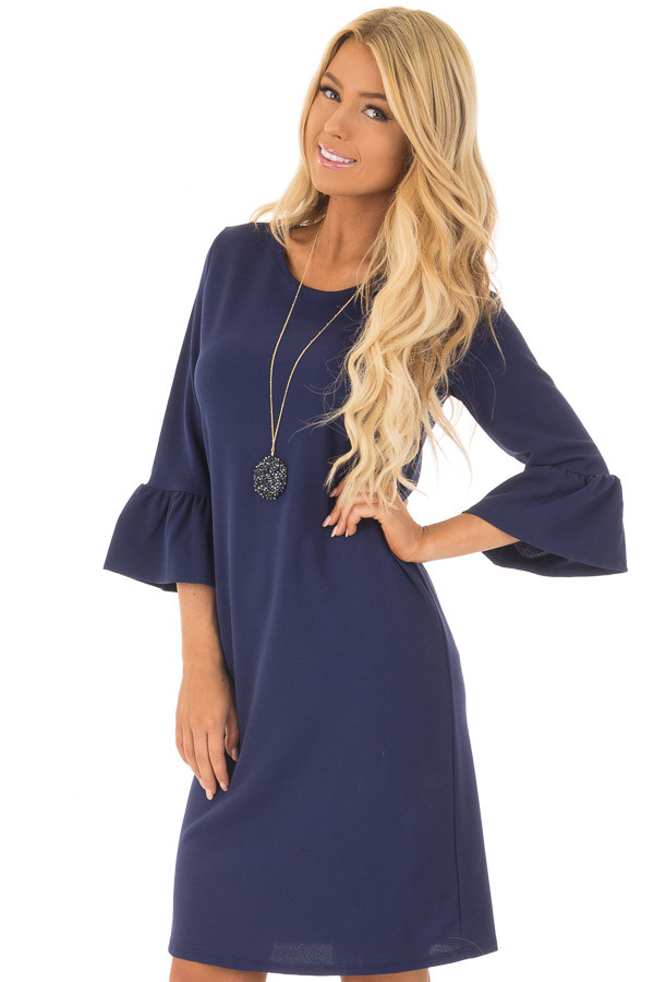 Navy 3/4 Sleeve Dress with Bell Flare Sleeve Detail front closeup