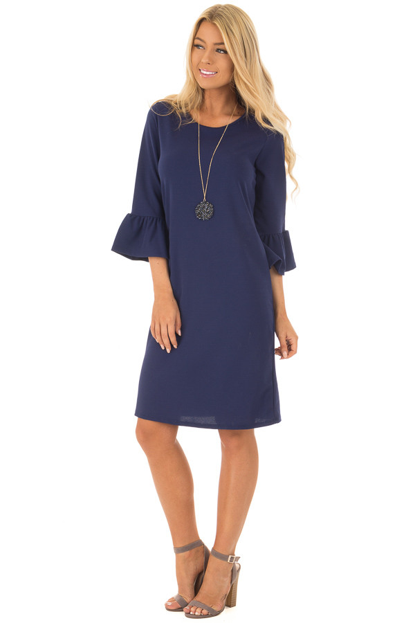 Navy 3/4 Sleeve Dress with Bell Flare Sleeve Detail - Lime Lush Boutique