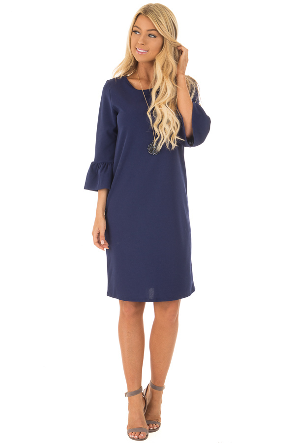 Navy 3/4 Sleeve Dress with Bell Flare Sleeve Detail front full body