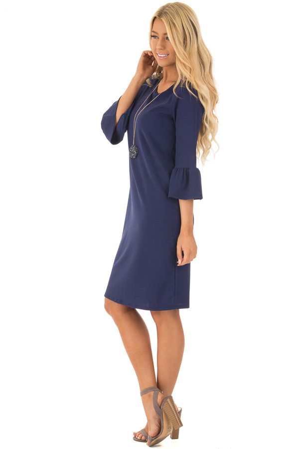 Navy 3/4 Sleeve Dress with Bell Flare Sleeve Detail side full body