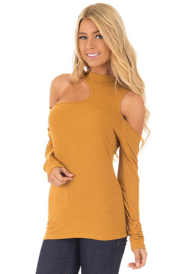 Mustard Ribbed Top with Unique Cold Shoulder Cut Outs front closeup