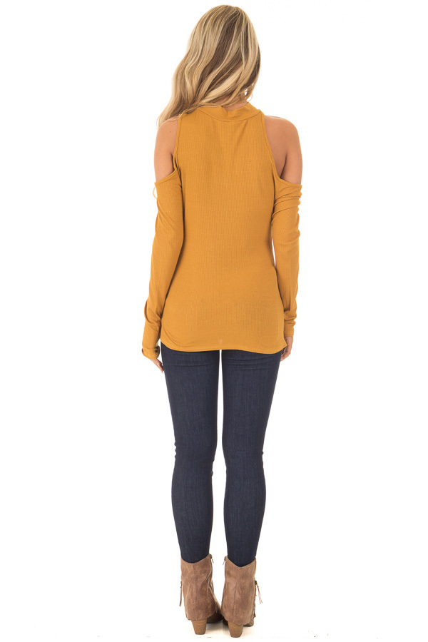 Mustard Ribbed Top with Unique Cold Shoulder Cut Outs back full body