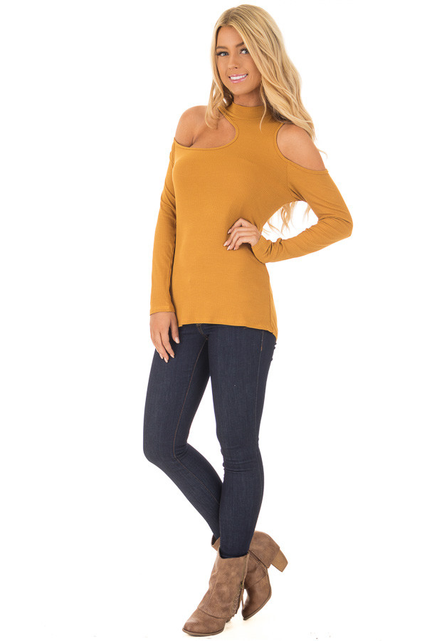 Mustard Ribbed Top with Unique Cold Shoulder Cut Outs front full body