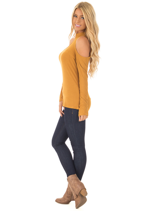 Mustard Ribbed Top with Unique Cold Shoulder Cut Outs side full body