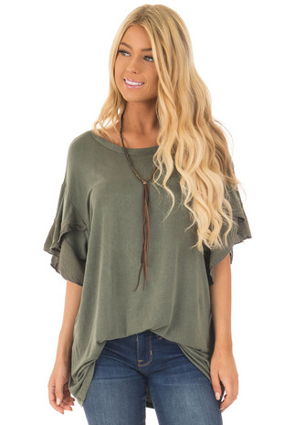 Olive Washed Ruffle Sleeve Top front closeup