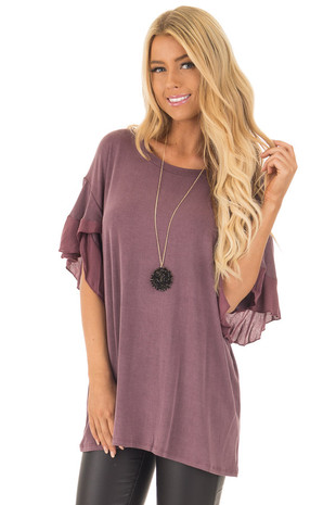 Wine Washed Ruffle Sleeve Top front closeup