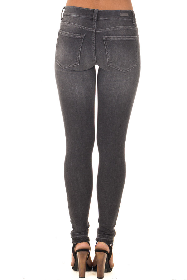 Charcoal Denim with Distressed Knees back view