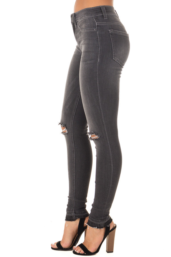 Charcoal Denim with Distressed Knees side view
