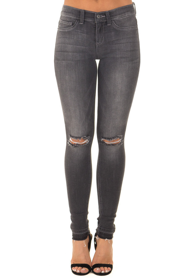 Charcoal Denim with Distressed Knees front view