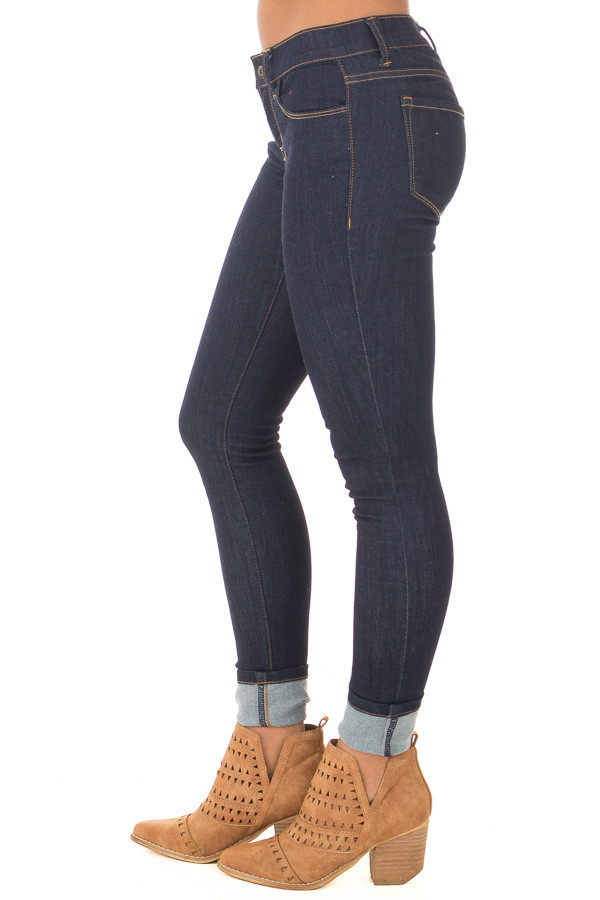 Dark Wash Skinny Jeans side view