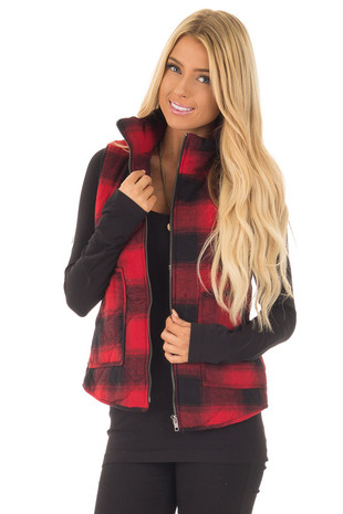 Red and Black Flannel Padded Vest with Side Pockets front close up