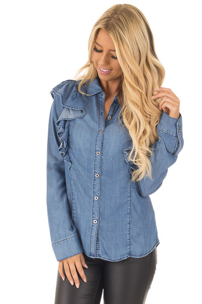 Denim Ruffle Long Sleeve Button Up Top front close up