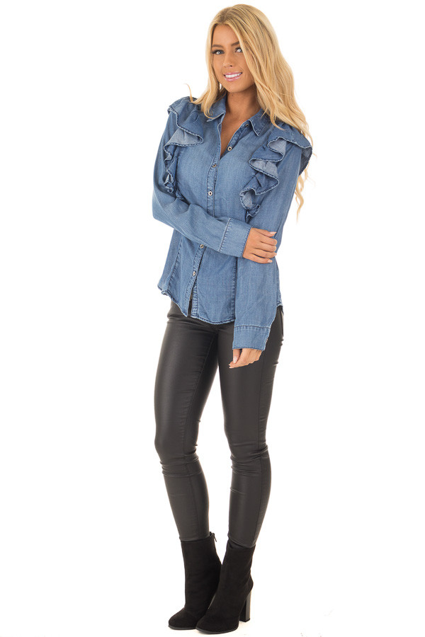 Denim Ruffle Long Sleeve Button Up Top front full body