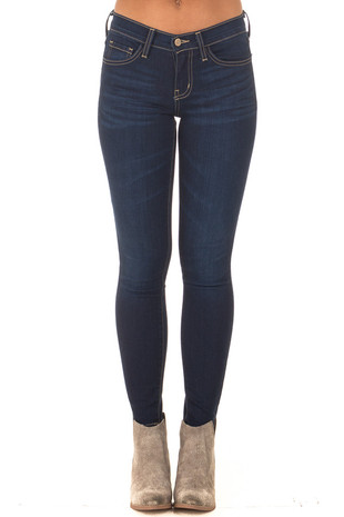 Blue Guardian Mid Rise Dark Wash Skinny Jeans front view