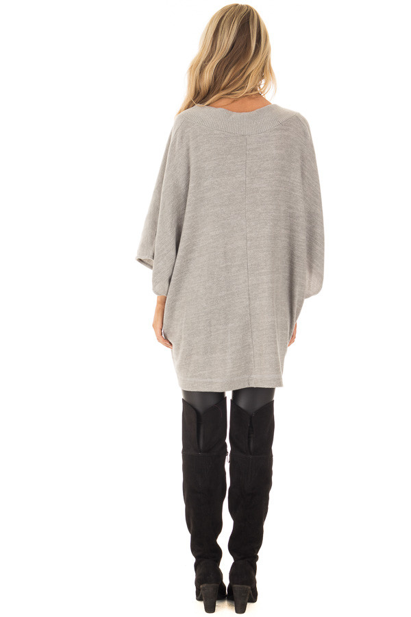 Heather Grey Super Soft Knit Loose Fit Poncho back full body